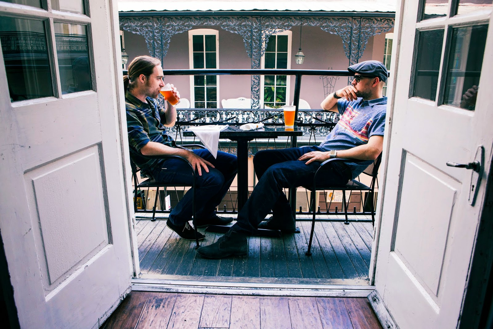 Martin Dickie (left) and James Watt (right) on a balcony in New Orleans, Louisiana