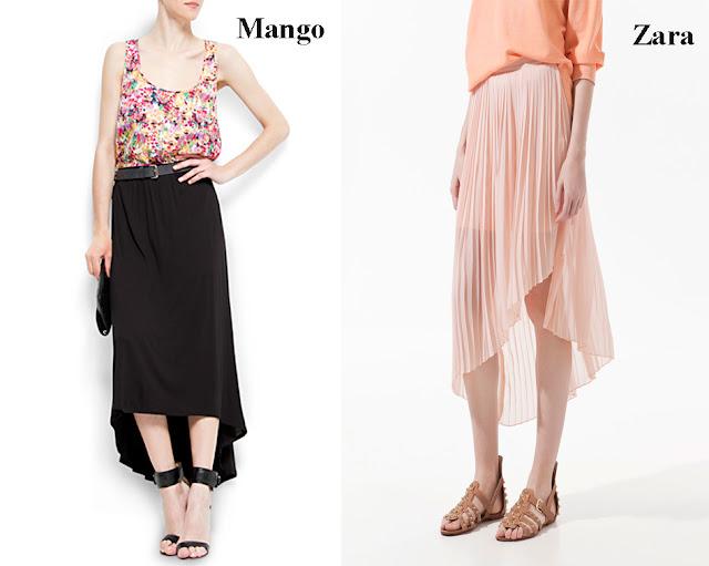 Falda asimétrica o tail hem de color negro de Mango y Falda asimétrica o tail hem de color rosa Zara