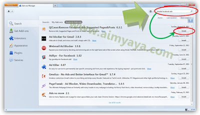 Gambar: Mencari add-ons yang dapat menghilangkan atau menyembunyikan iklan facebook di mozilla firefox
