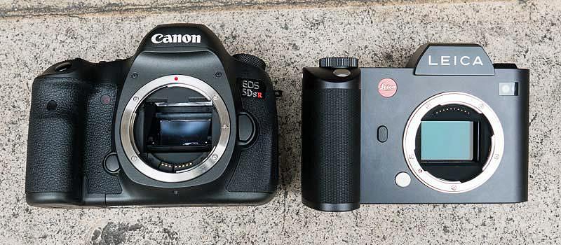 Canon EOS-5DsR and Leica SL Size Comparison