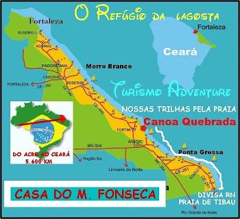 O MAPA PARA CHEGAR ÀS LAGOSTAS E ÀS DUNAS DE CANOA QUEBRADA