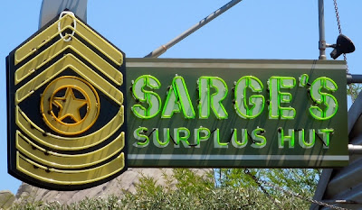 Sarge's Surplus Hut sign in Cars Land