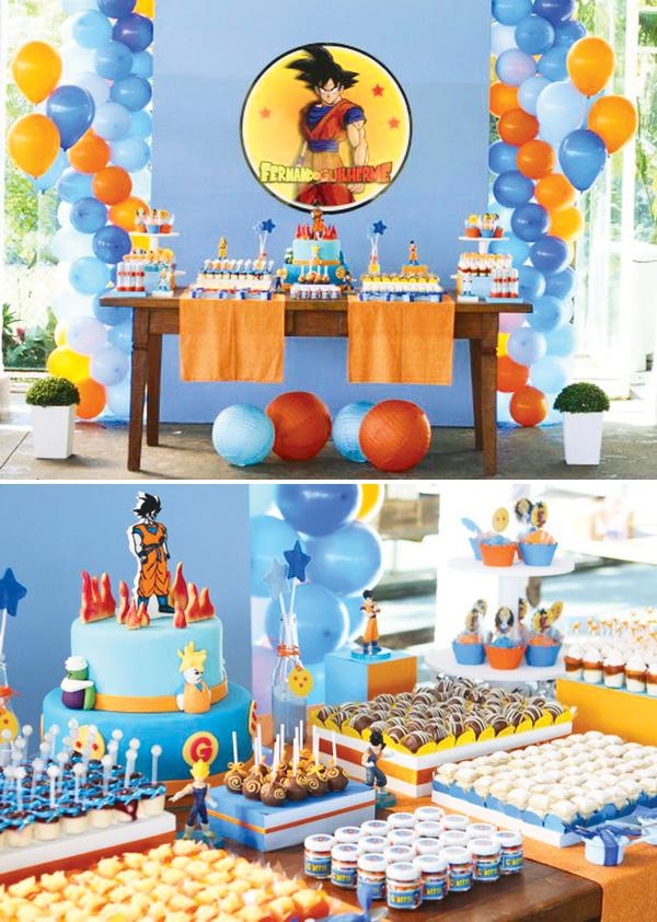 Decoraci n de fiesta infantil de dragon ball z fiestas - Fiesta infantil en casa ...