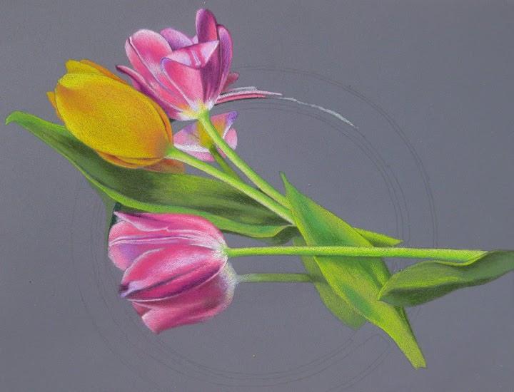kjf design tulips on pastelbord