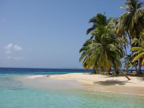 imagem da praia com vegetação, areia branca e águas cristalinas