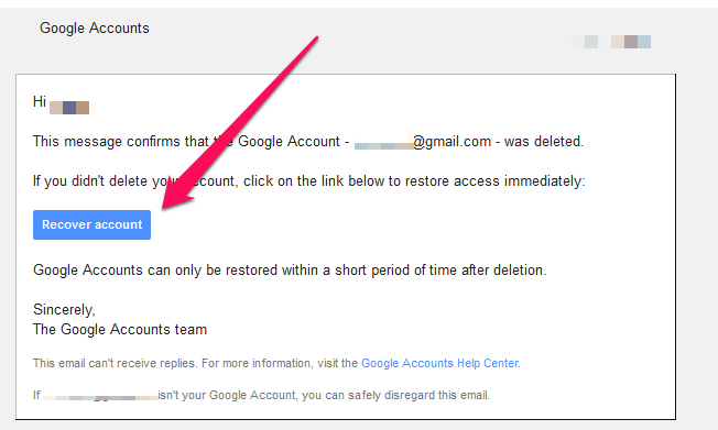 recover deleted google account