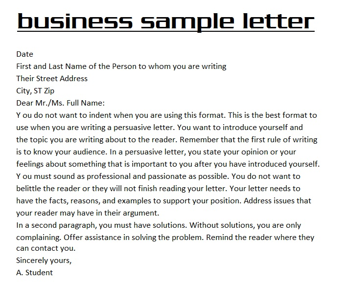Example Of A Business Letter
