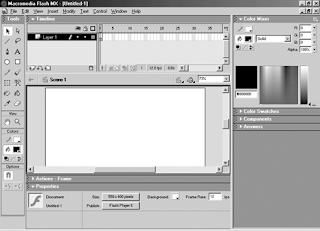 Tampilan Area Kerja Macromedia flash