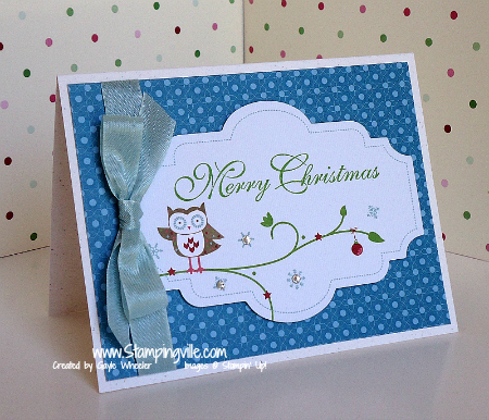 Owl Christmas Card with Snow Festival Designer Printed Tags