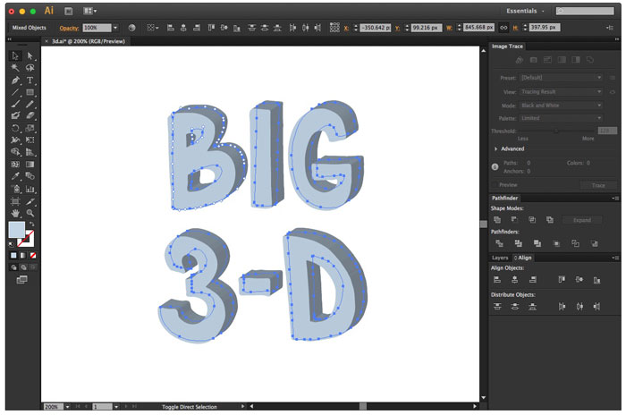 3d extrude and bevel text effects now applied