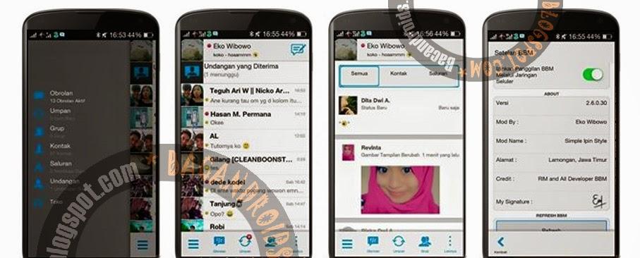 Aplikasi BBM Mod Versi 2.6.0.30 Simple Ipin Style Apk  free gratis