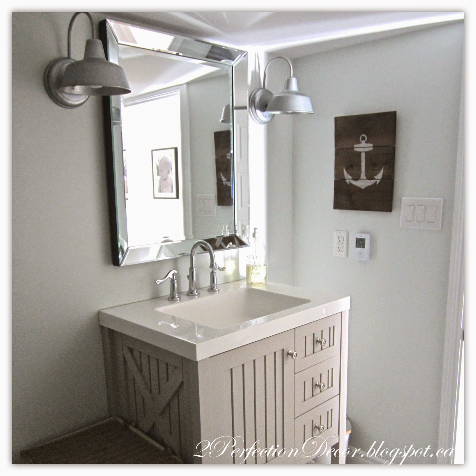 2perfection decor basement coastal bathroom reveal for Accessories for the bathroom