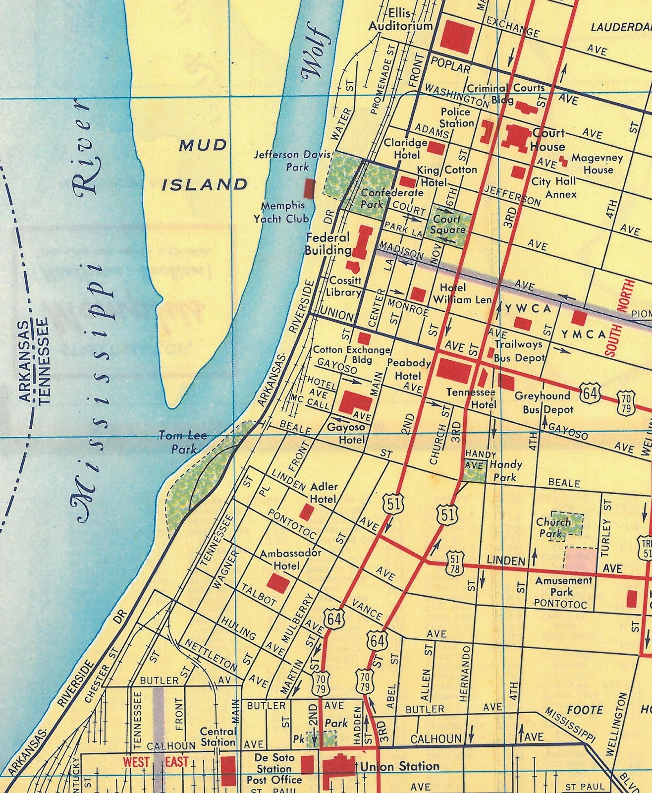 this 1958 map of downtown memphis from h m gousha accurately shows madison as the north south divide and an invisible northerly extension of florida as the