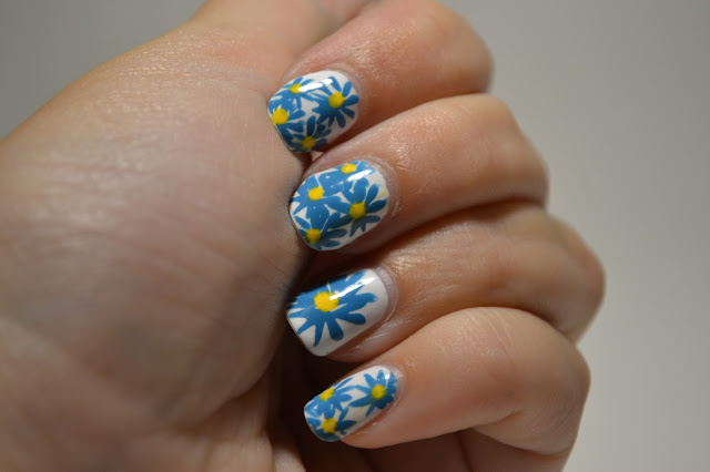 Blue and Yellow Flower Nails by Elins Nails