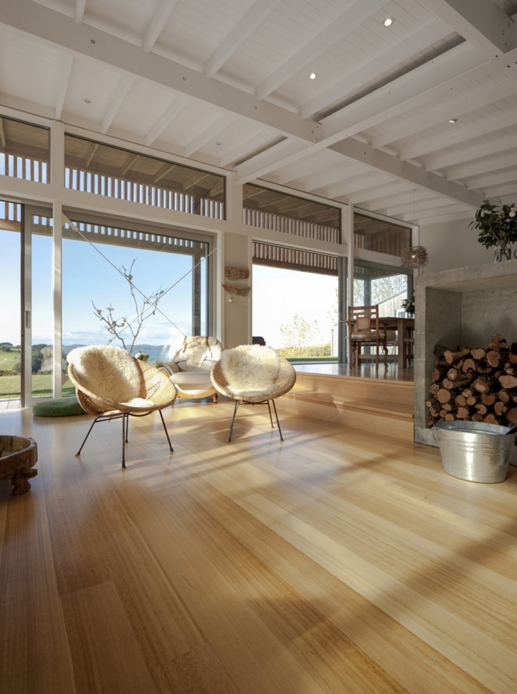 Living room chairs in Wooden house in New Zealand
