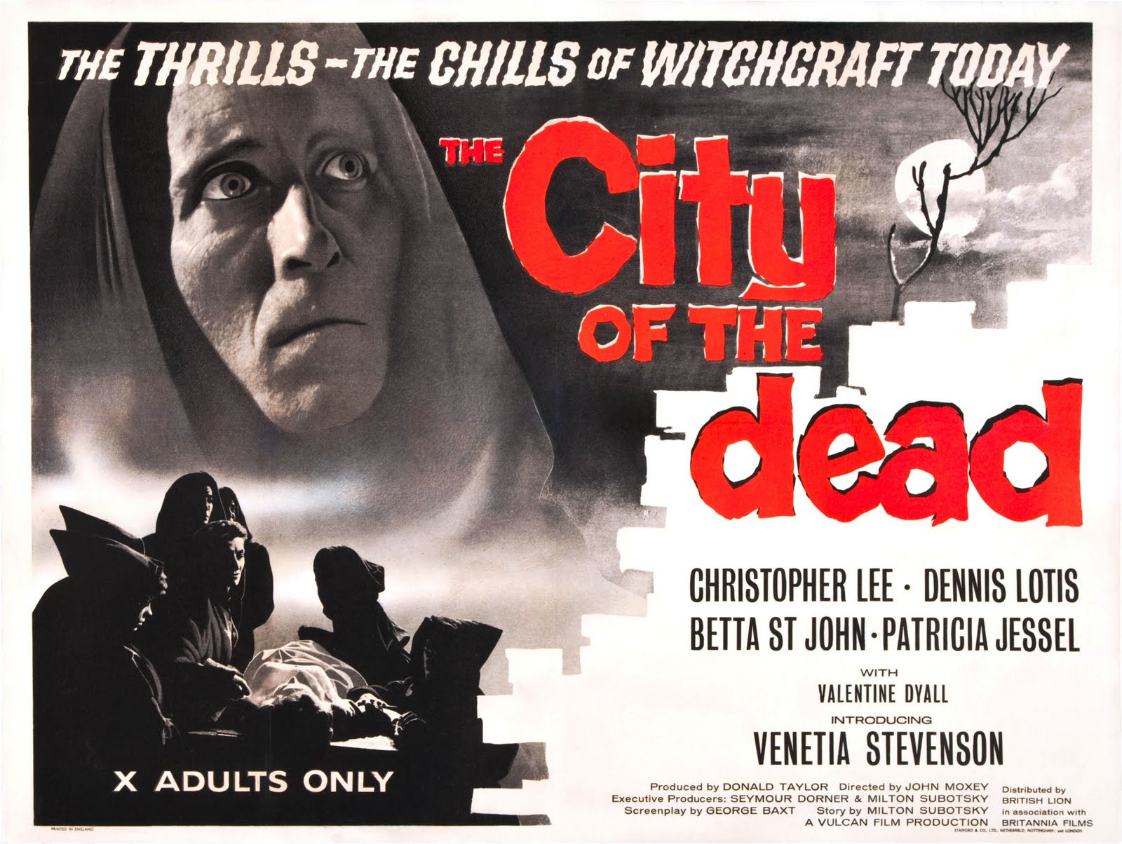 City Of The Dead 1960's Film Poster With Christopher Lee