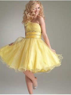 one shoulder yellow short mini cocktail party dress