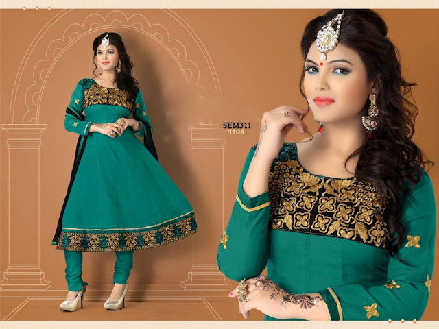 Latest Embroidered Neck Cotton Anarkali Suit
