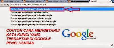 Gambar cara agar artikel blog terindex cepat di google