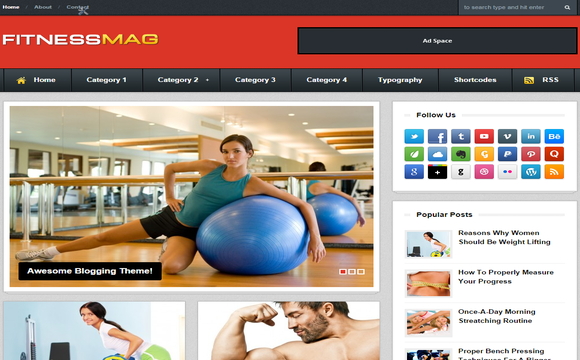 Fitness Mag Blogger Template – Fitness Templates Free