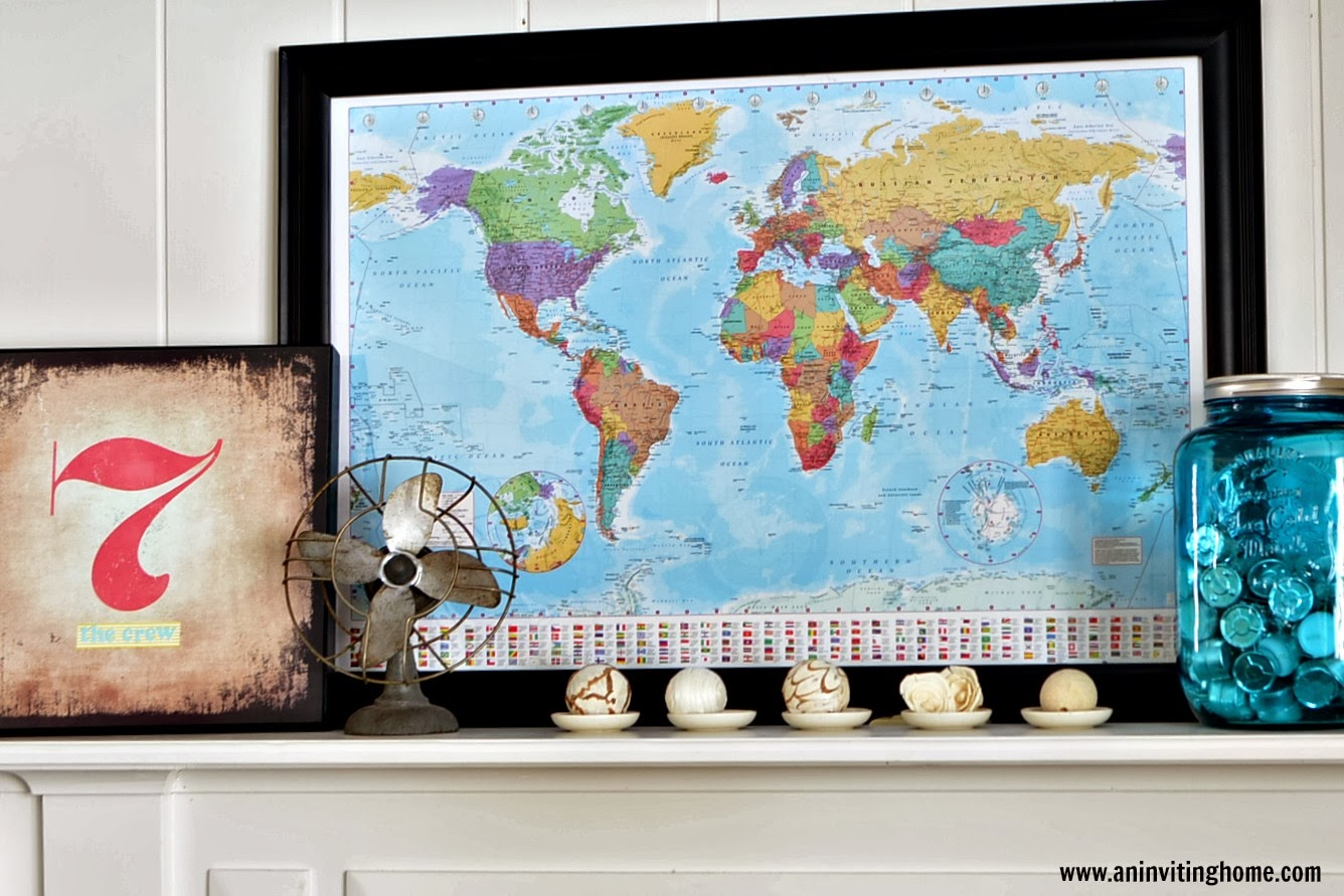 vintage fan and world map