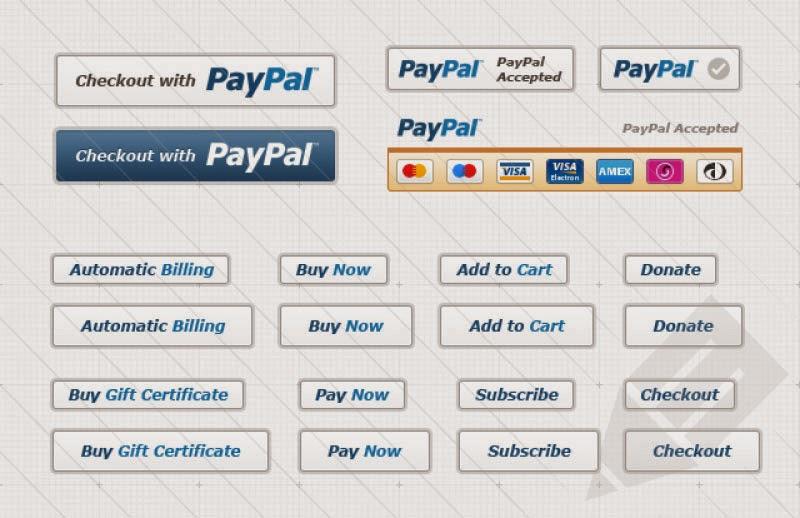 Free PSD PayPal Button Set