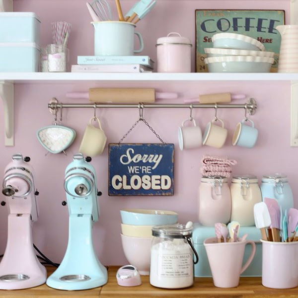 Ice Blue Kitchen Aid, Baby Pink Kitchenaid, pastel spatula's, greengate DK clock, enamel cups and Leila's General Store pie dishes - Retro Pastel Kitchen Colors That'll Make You Squeal!