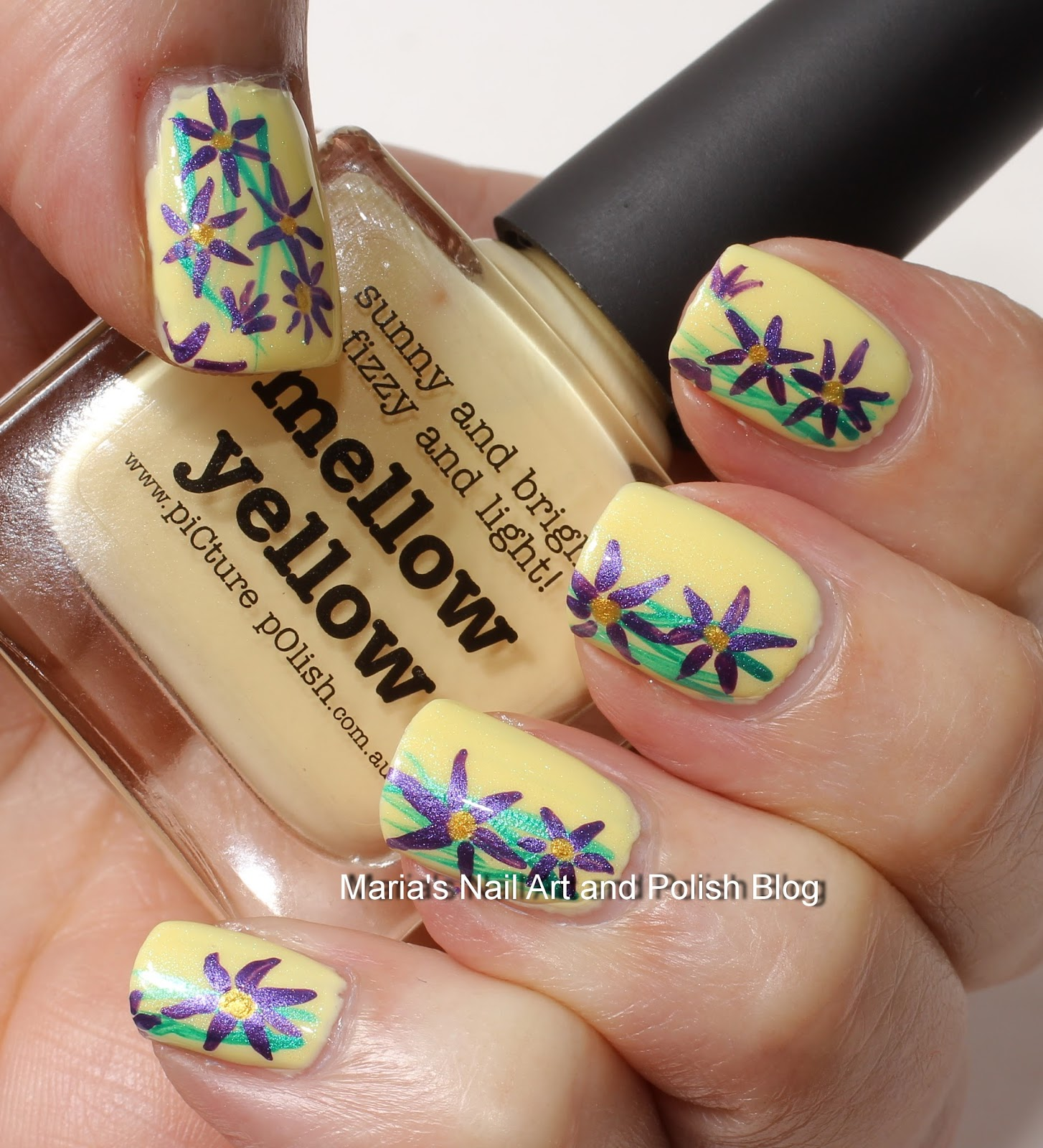 Marias Nail Art And Polish Blog Subtle Floral Nail Art On: Marias Nail Art And Polish Blog: Purple Flowers On Mellow