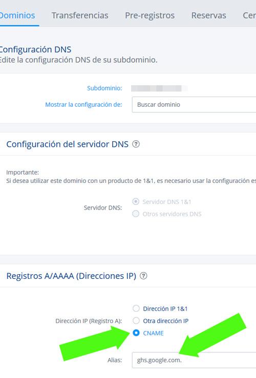 Añandiendo el registro CNAME de un blog de Blogger en 1&1