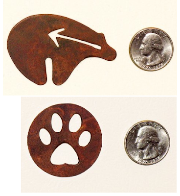 steel magnets - dog paw and heart line bear