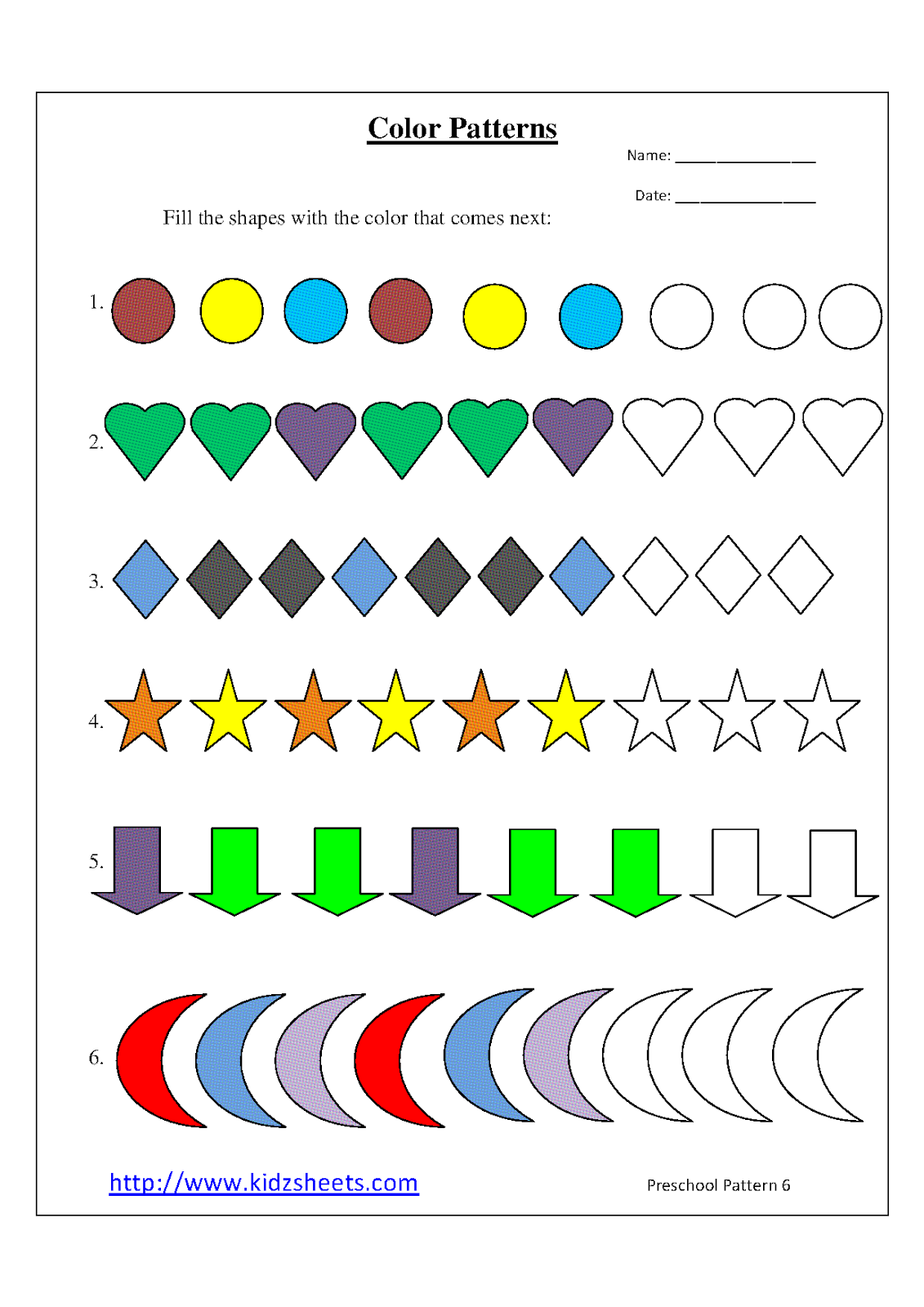math worksheet : kidz worksheets preschool color patterns worksheet6 : Free Pattern Worksheets For Kindergarten