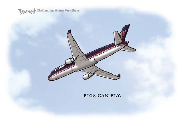 Picture of Donald Trump's jet.  Caption:  Pigs can fly.