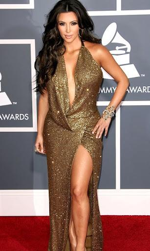 Ким Кардишиян в златна рокля