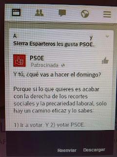 Imagen de whatsapp con el falso apoyo para el voto a PSOE Morón.