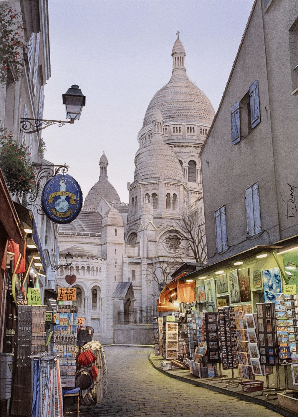 04-Montmartre-Thierry-Duval-Snippets-of Real-Life-in Watercolor-Paintings-www-designstack-co