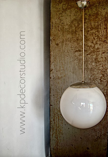 lampara blanca bola años 50 retro
