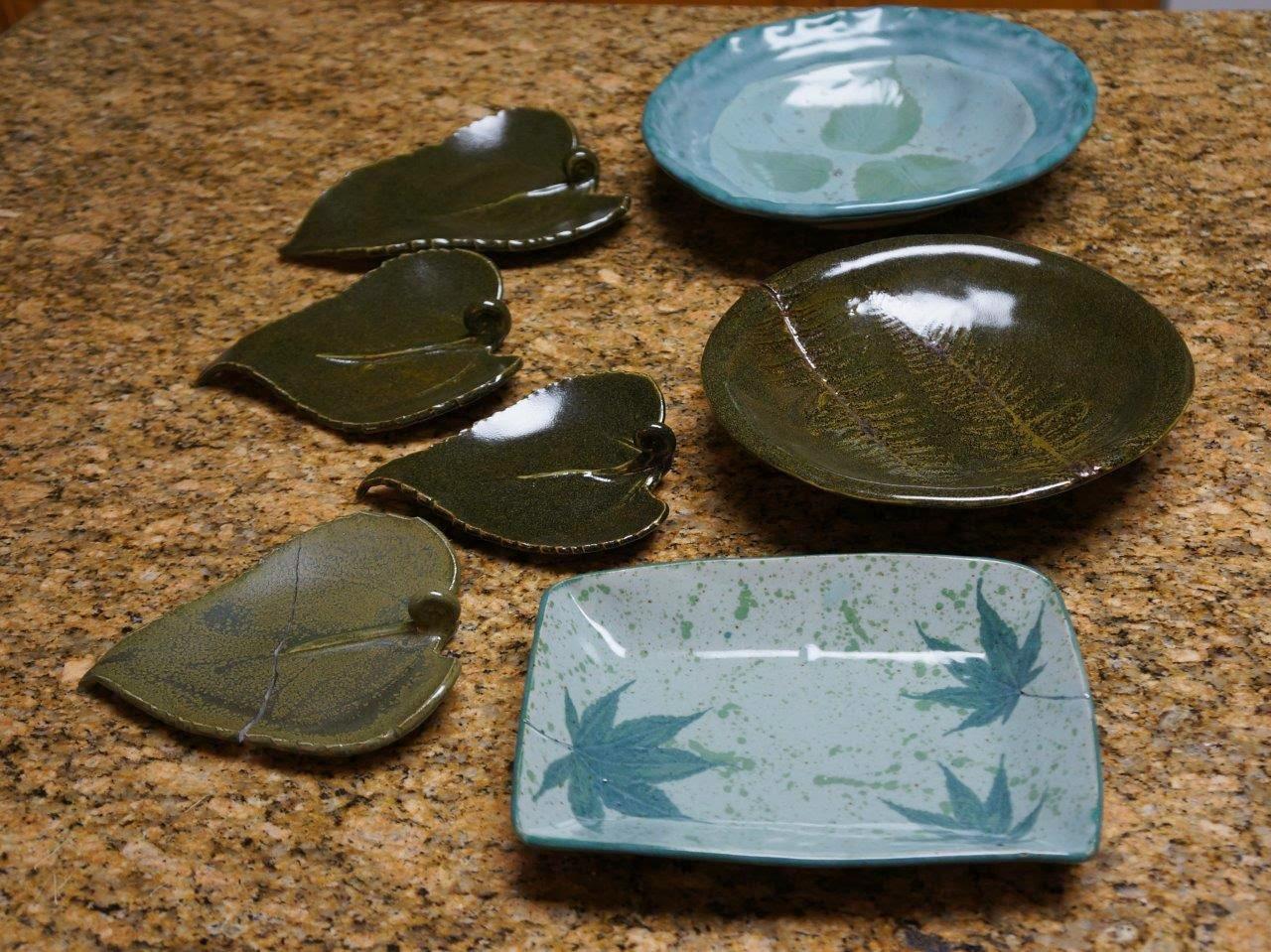Handmade ceramic stoneware pottery dishes and bowls.