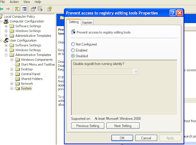 Enable Registry Editor menggunakan Group Policy Editor :