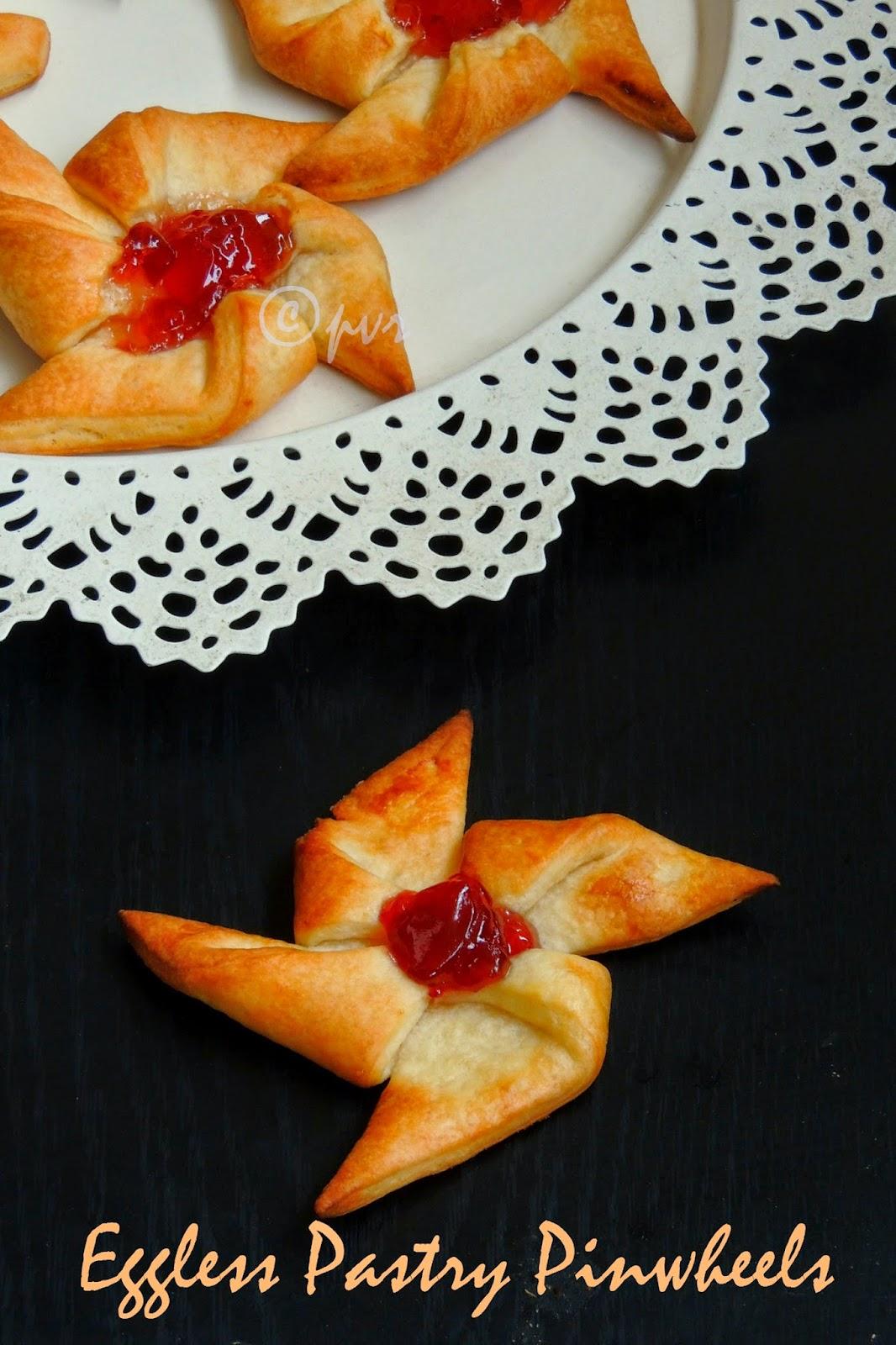 Eggless pinwheels, eggless danish pastry pinwheels,Jam pinwheels
