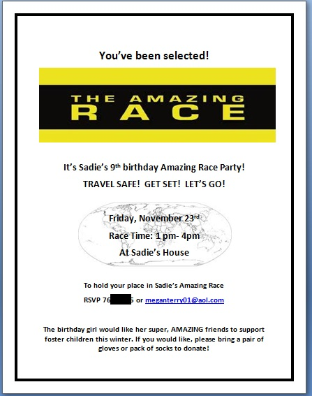 amazing race birthday party templates - millions of miles our amazing race birthday party