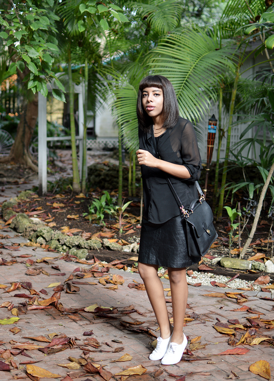 Indie Fashion Blogger Anais Alexandre of Down to Stars in a Zara leather dress and H&M shirt with ASOS shoes and a Coach bag at Cauley Square