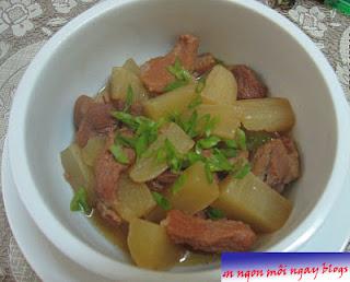 củ cải trắng khử vị chát của thịt muối