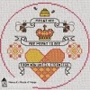 meant to be valentine cross stitch chart with bees and hearts