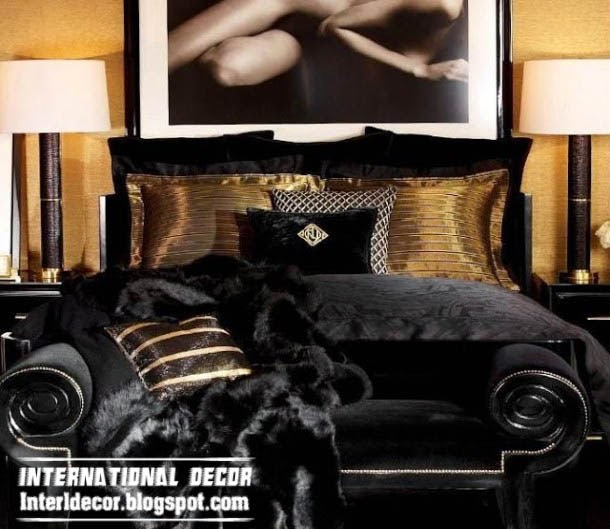 art deco style in modern interior, black furniture in bedroom