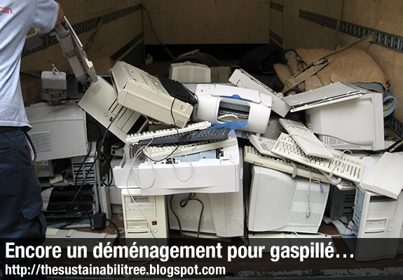 Pile of ewaste being moved into a truck