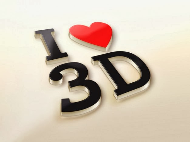 Efek Teks 3D I Love You PSD