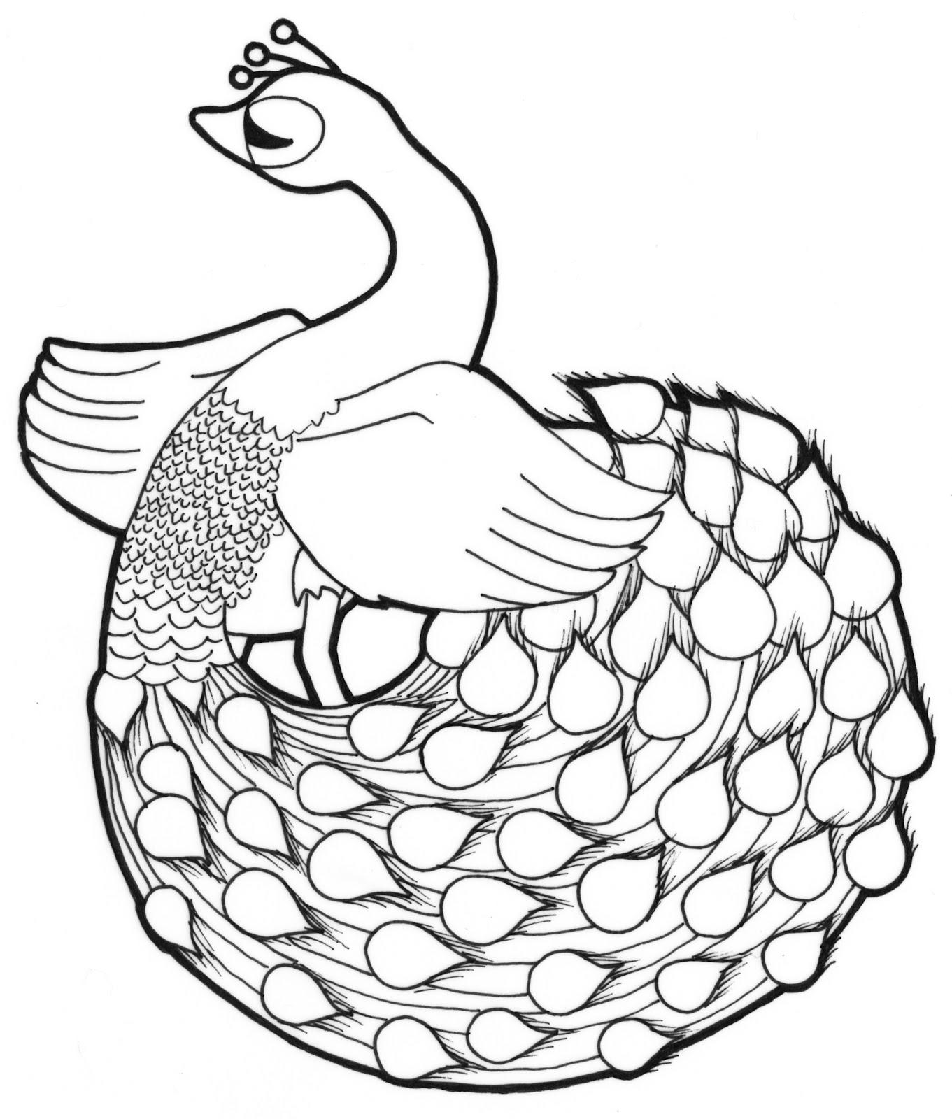 Peacock body outline - photo#22
