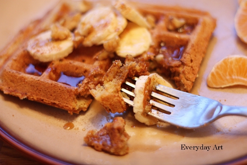 Everyday Art: Banana-nut waffles