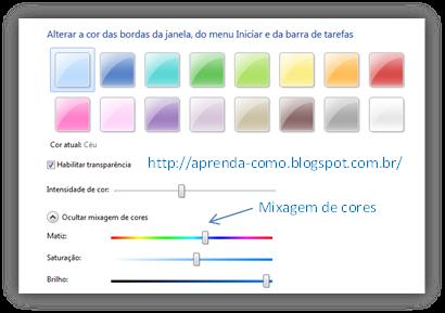 Mixagem de cores do aero Windows 7