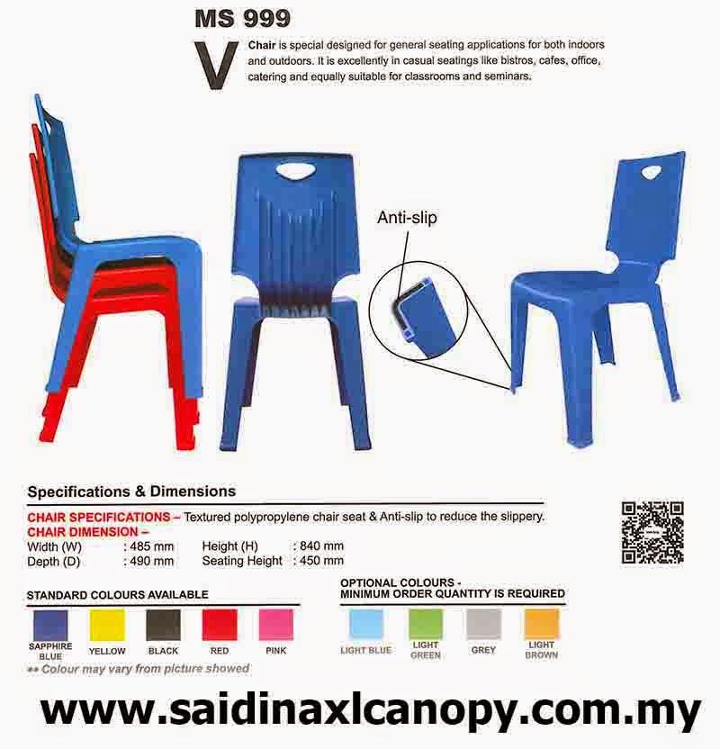 Kerusi Plastik V-Chair Berkualiti